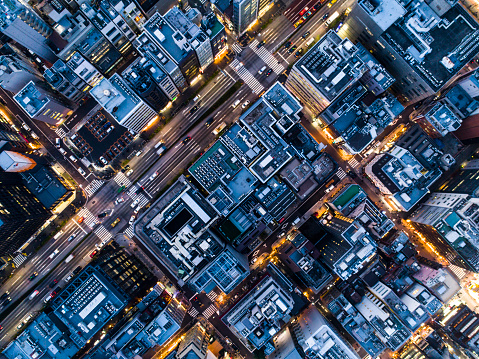 Aerial shots of buildings and rooftops. - gettyimageskorea