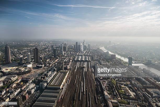aerial shots of frankfurt, germany - schienenverkehr stock-fotos und bilder