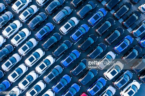 aerial shots of many cars before sale. - new business ストックフォトと画像