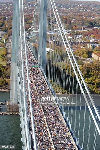 Aerial shots taken at the start of the 2008 New York City Marathon at the Verrazano Bridge