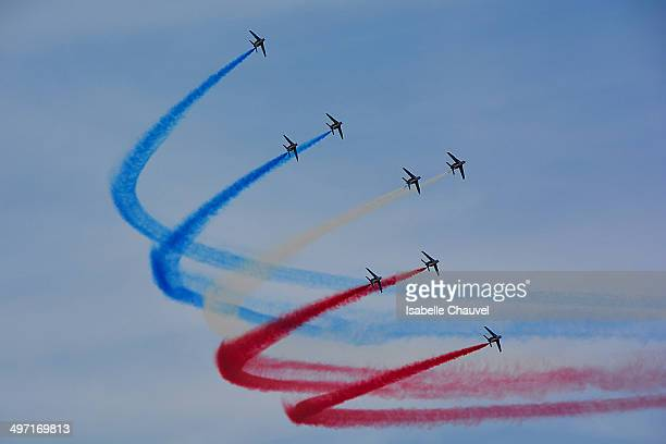 Aerial show of French patrol.