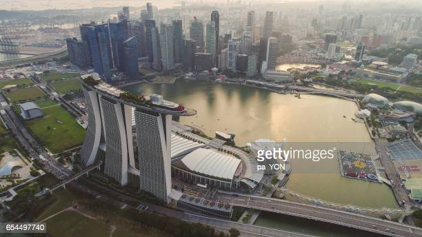 aerial singapore skyline - merlion park stock photos and pictures