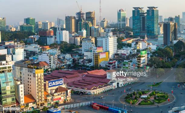 Aerial skyline of Ho Chi Minh city and Ben Thanh market. Ben Thanh market is one of the most iconic landmark for travel and tourism at Ho Chi Minh city.