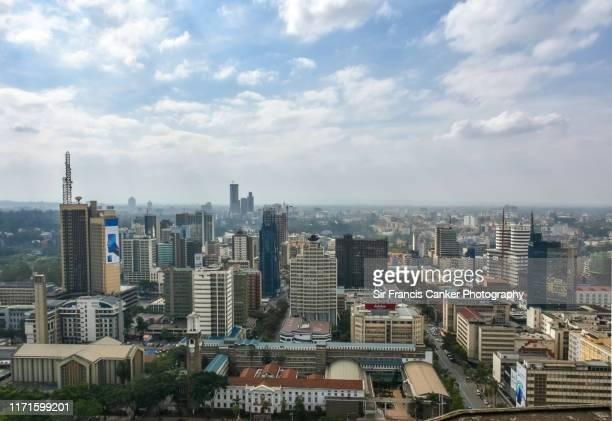 aerial skyline of nairobi, kenya, africa - national landmark stock pictures, royalty-free photos & images