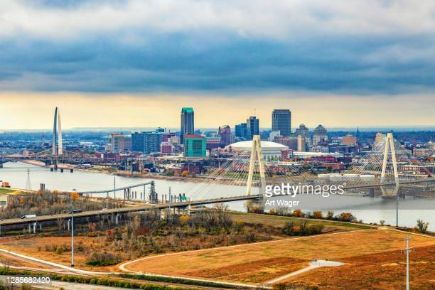 aerial skyline st. louis - st. louis missouri stock pictures, royalty-free photos & images