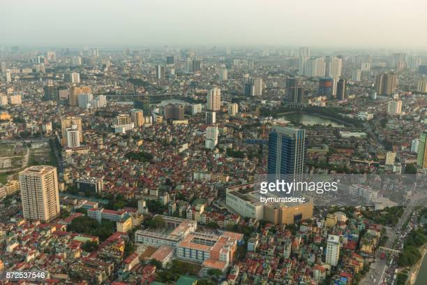 Aerial skyline view of Hanoi cityscape at sunset