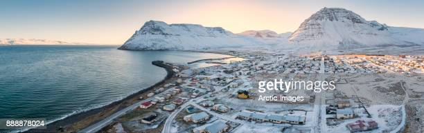 Aerial - Small Village of  Bolungarvik, Westfjords, Iceland
