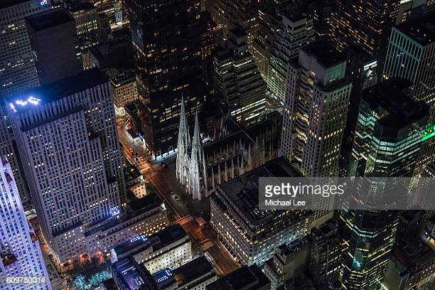aerial st patrick's cathedral - new york - st. patricks cathedral manhattan stock photos and pictures