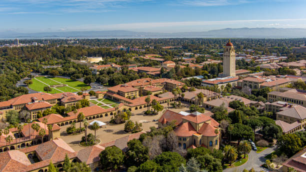 aerial Stanford University Memorial Church The Quad Hoover Tower