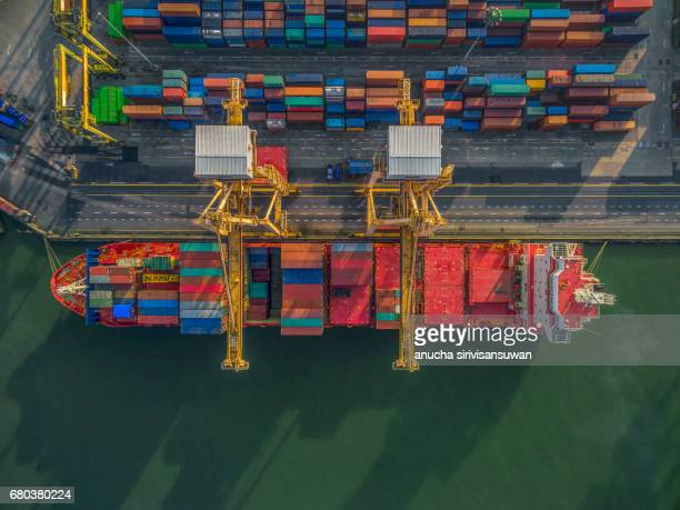 Aerial Storage containers before transport dock , Top view , Thailand .