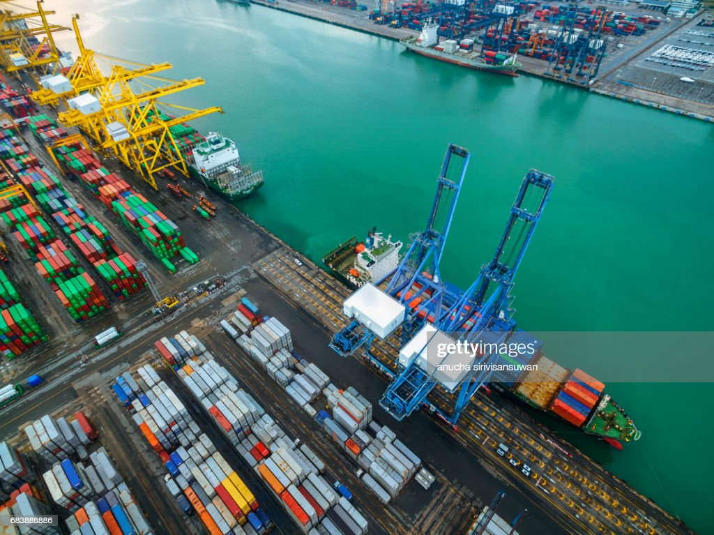Aerial Storage Containers Before Transport Dock Top View