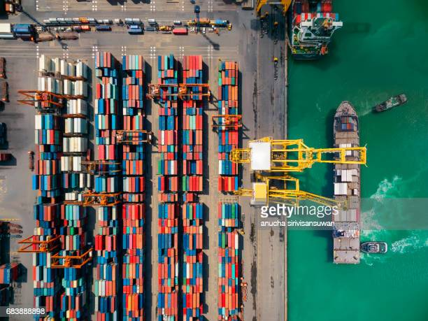 aerial storage containers before transport dock , top view , thailand . - heavy industry stock photos and pictures