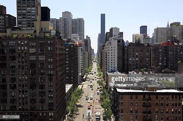Aerial street view of Upper East Side