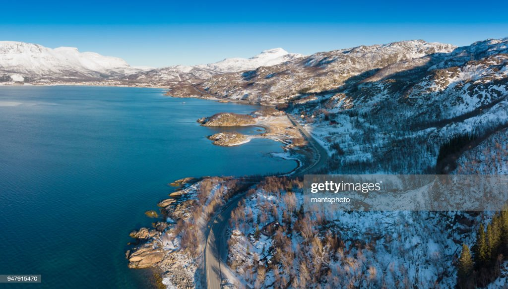 Aerial sunny winter view of Lapland : Stock Photo
