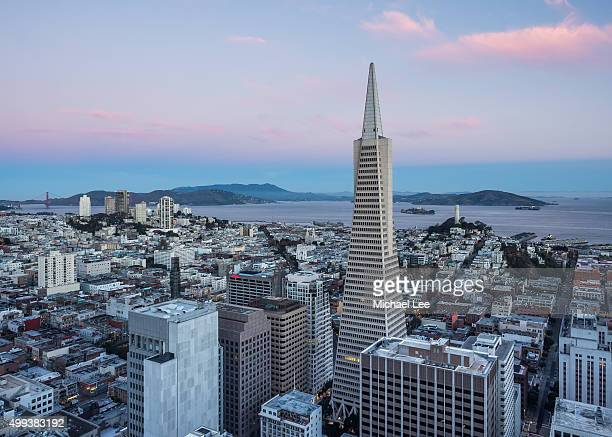Aerial sunrise view of San Francisco