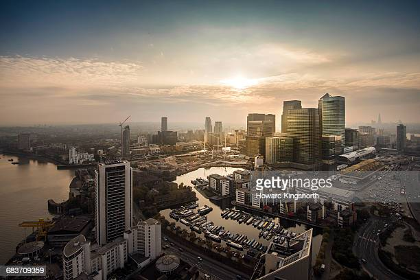 Aerial sunset over Canary Wharf