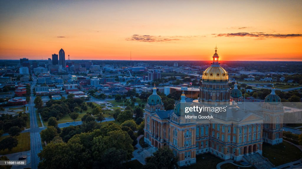 Aerial Sunset Through The Iowa Capitol Windows : Stock Photo