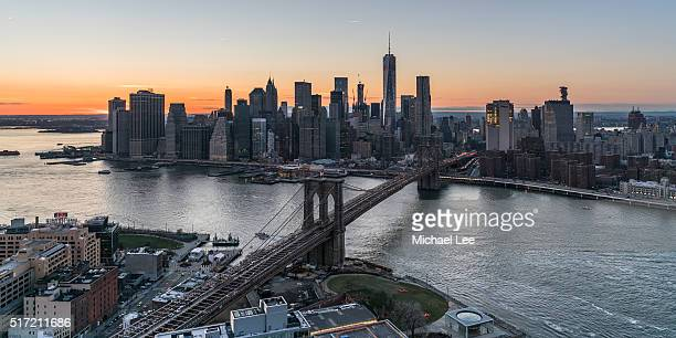 Aerial Sunset View from DUMBO - New York
