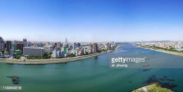 aerial teadong river in pyongyang capital north korea - pyongyang stock pictures, royalty-free photos & images