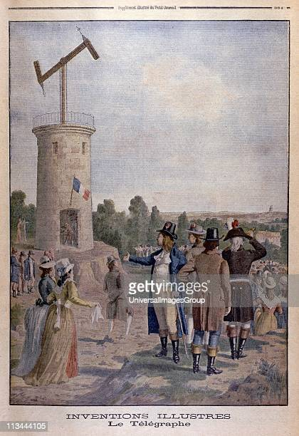 Aerial Telegraph Artist's impression of Claude Chappe French engineer and inventor demonstrating his telegraph system Widely used particularly in...