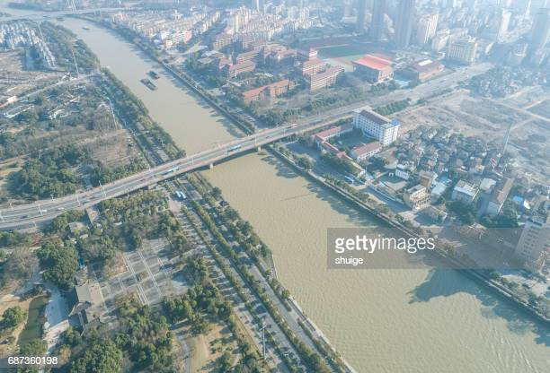 Aerial the beijing-hangzhou grand canal in wuxi section of the city