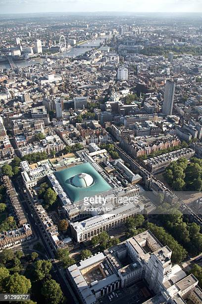 aerial the british museum and west end - british museum stock pictures, royalty-free photos & images