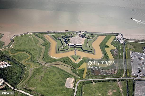 Aerial Tilbury Fort on River Thames estuary