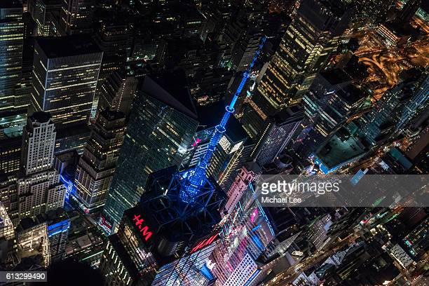 Aerial Times Square at Night - New York