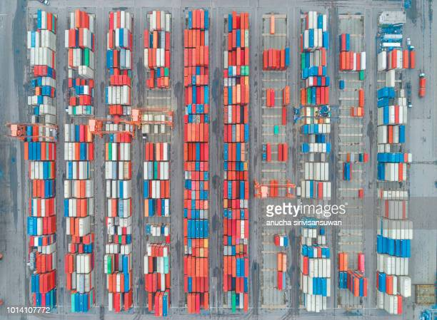 aerial top view container in warehouse. - box container stock pictures, royalty-free photos & images