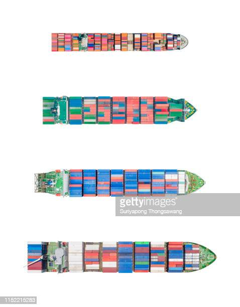 aerial top view container ship on isolated background with clipping path for logistics, import export, shipping or transportation. - ship stock pictures, royalty-free photos & images