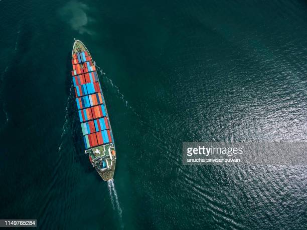 aerial top view container ship park for import export logistics in  pier, thailand. - ship in a bottle stock pictures, royalty-free photos & images