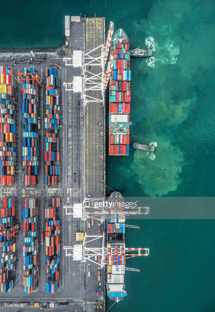 Aerial Top View Container Ship Park For Import Export