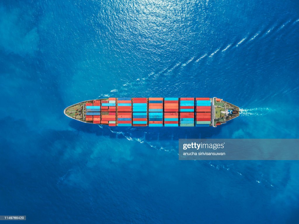 aerial top view container ship Park for import export logistics in  pier, thailand. : Stock-Foto