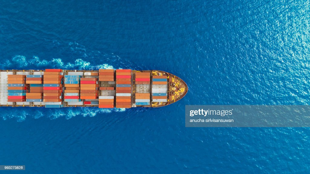 aerial top view container ship runing have wave in green sea, bangkok, thailand. : Stock Photo