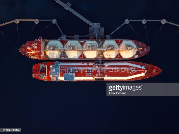 aerial top view of an lng (liquified natural gas) tanker refuelling another lng tanker. - 液化天然ガス ストックフォトと画像