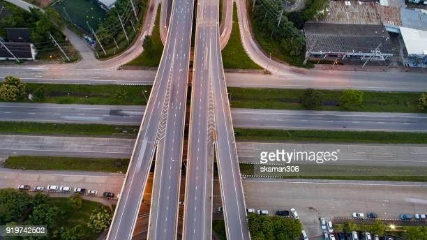 aerial top view of ring road - forked road stock pictures, royalty-free photos & images