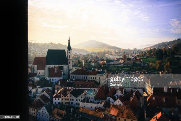 aerial top view of the red roof of cesky krumlov unesco world heritage town, czech republic - vltava river stock photos and pictures