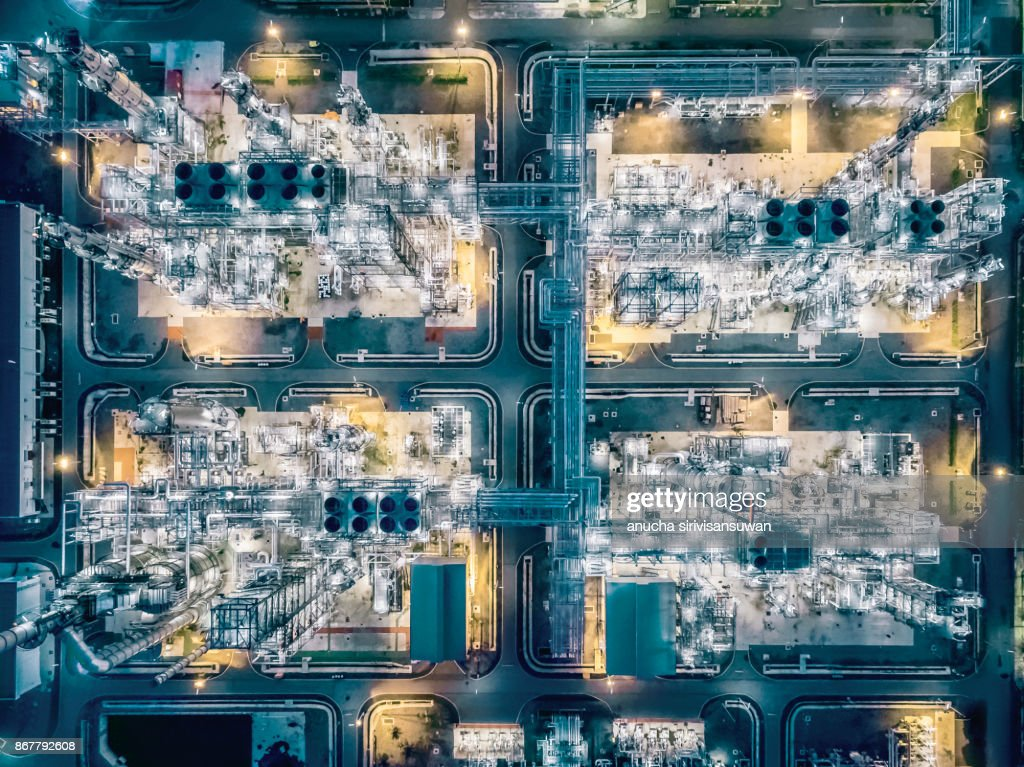 aerial top view Oil refinery at night . : Stock Photo