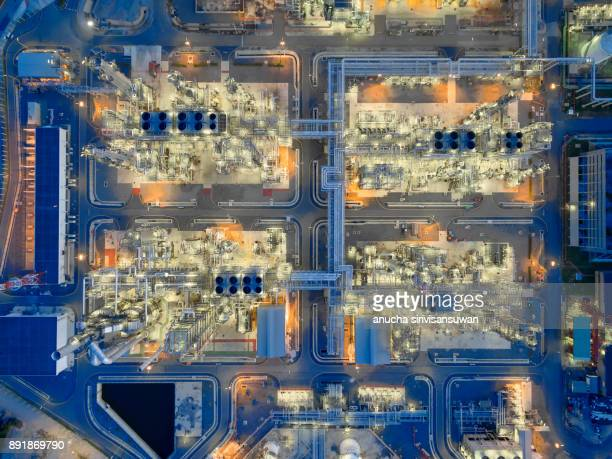 aerial top view Oil refinery at night, thailand.