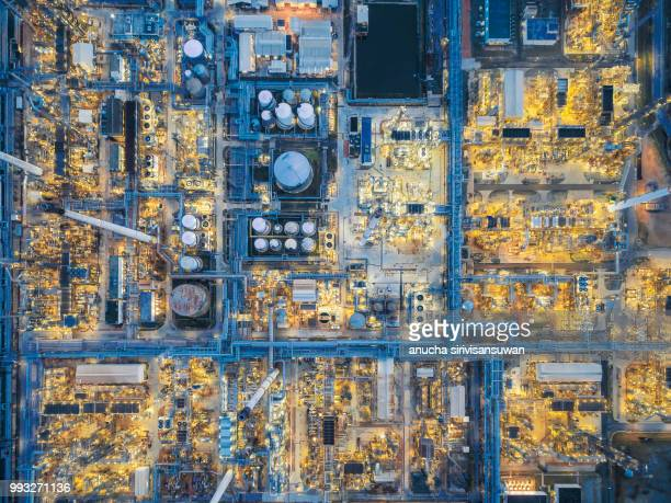 aerial top view oil refinery at night, thailand. - gas stock pictures, royalty-free photos & images
