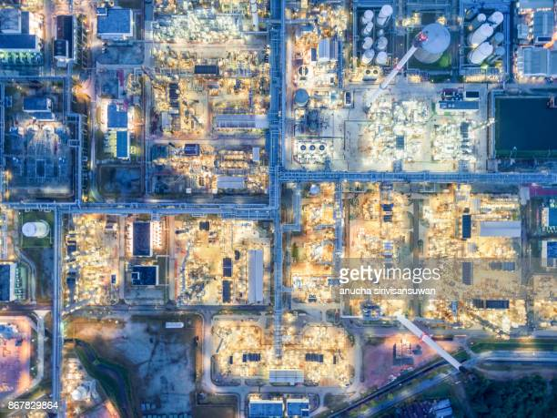 aerial top view oil refinery . - vaseline stock pictures, royalty-free photos & images