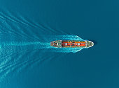 Aerial top view Oil ship tanker carier oil from refinery on the sea.