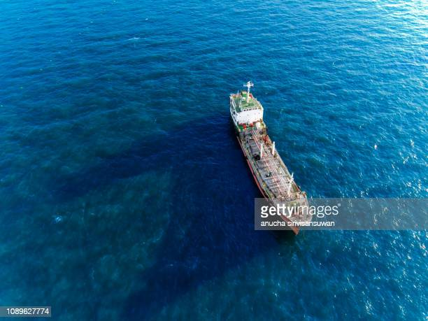 aerial top view oil tankers park at oil port. - 産業用船舶 ストックフォトと画像