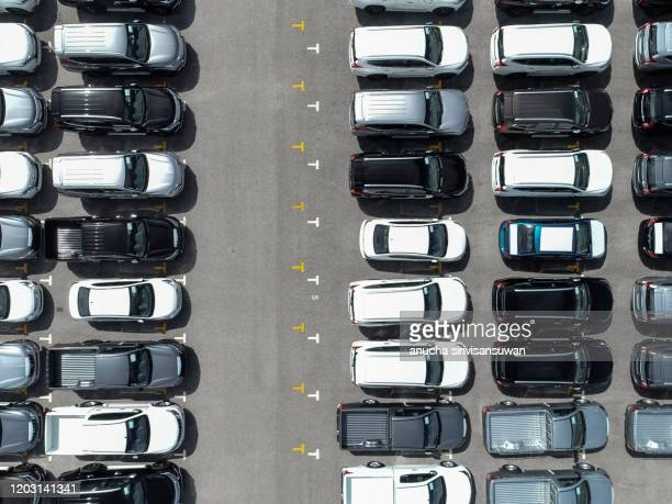 aerial top view product new cars to export by sea, thailand. - parking stock pictures, royalty-free photos & images