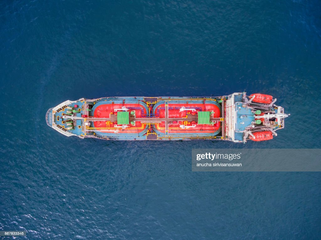 aerial top view tanker ship park in sea . : Stock Photo