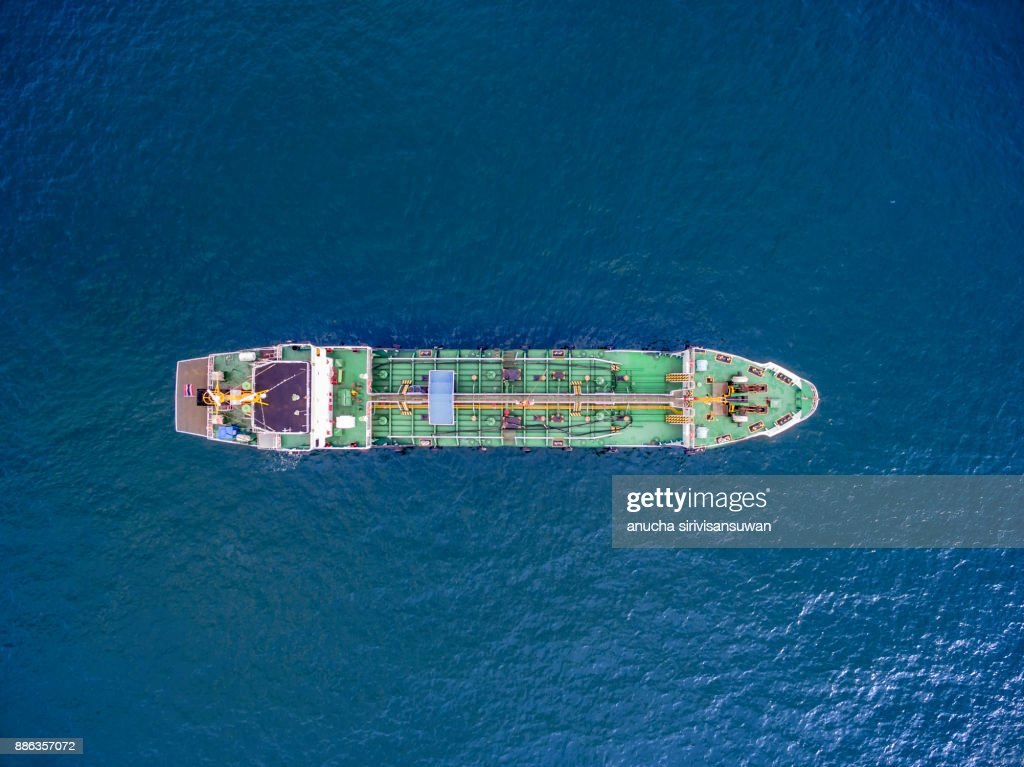 Aerial Top View Tanker Ship Park In Sea Stock Photo ...