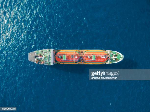 aerial top view tanker ship park in sea .