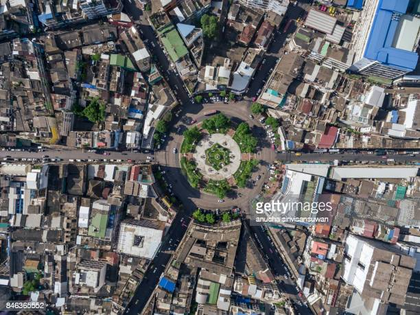 aerial top view traffic circle , 22 karakadakhom circle , bangkok , thailand . - high section stock pictures, royalty-free photos & images