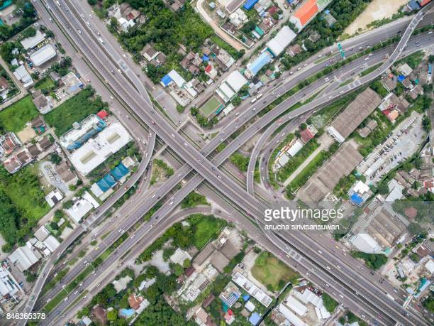 aerial top view traffic intersection in city .
