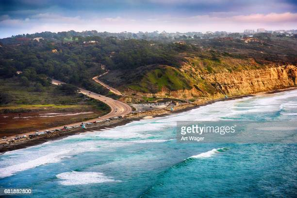 aerial torrey pines state park la jolla - nature reserve stock pictures, royalty-free photos & images
